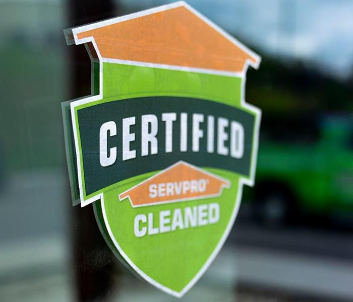 The Certified: SERVPRO Cleaned sign.