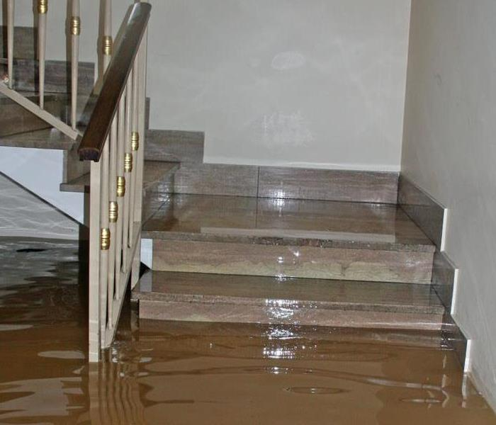 Flood water damage to a staircase