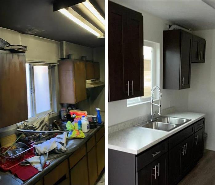 Before and after photos of a fire damaged kitchen.