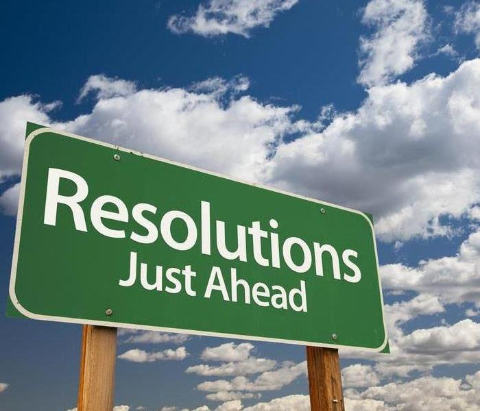 """Resolutions Just Ahead"" sign"